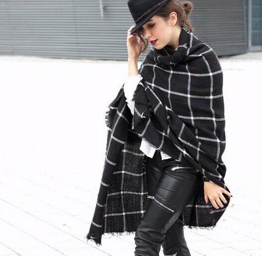 1PC 2018 195CM * 75CM New Lady Women Blanket black white Plaid Cozy Checked Tartan Scarf Wraps shawl