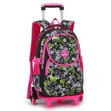 Schöne Druck Trolley Schultaschen für Mädchen Rucksack kinder Buch Tasche auf Rädern Primäre Schule Schultasche Kinder Reisegepäck