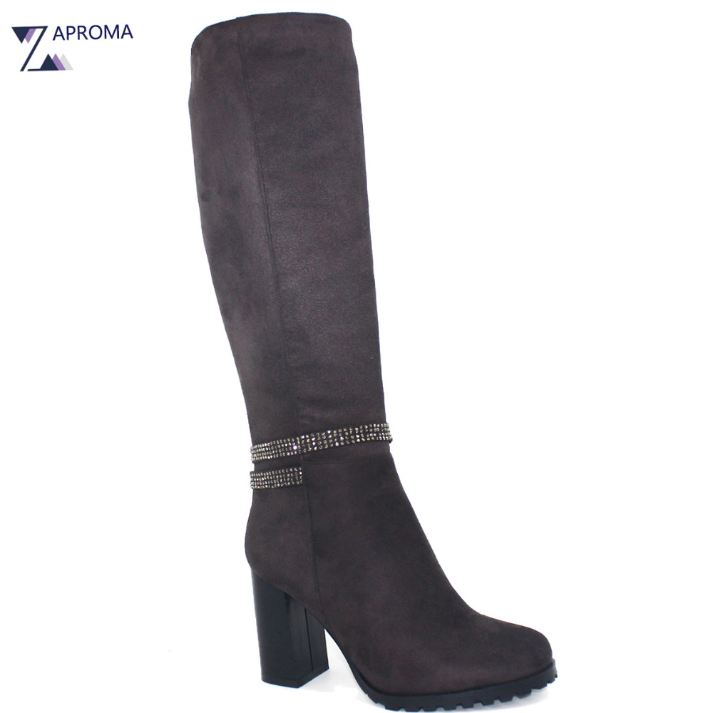 Dark Brown 2018 Shoes Women Winter Boots Super High Heel Rivet Zip Knee High Short Plush Flock Chunky Heels Stretch Boots