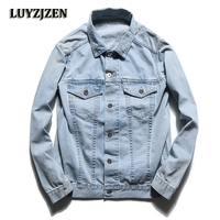 Jeans Jacket Men Denim Jackets With Pockets Mens Long Sleeve Spring Autumn Outwear Male Casual Cotton