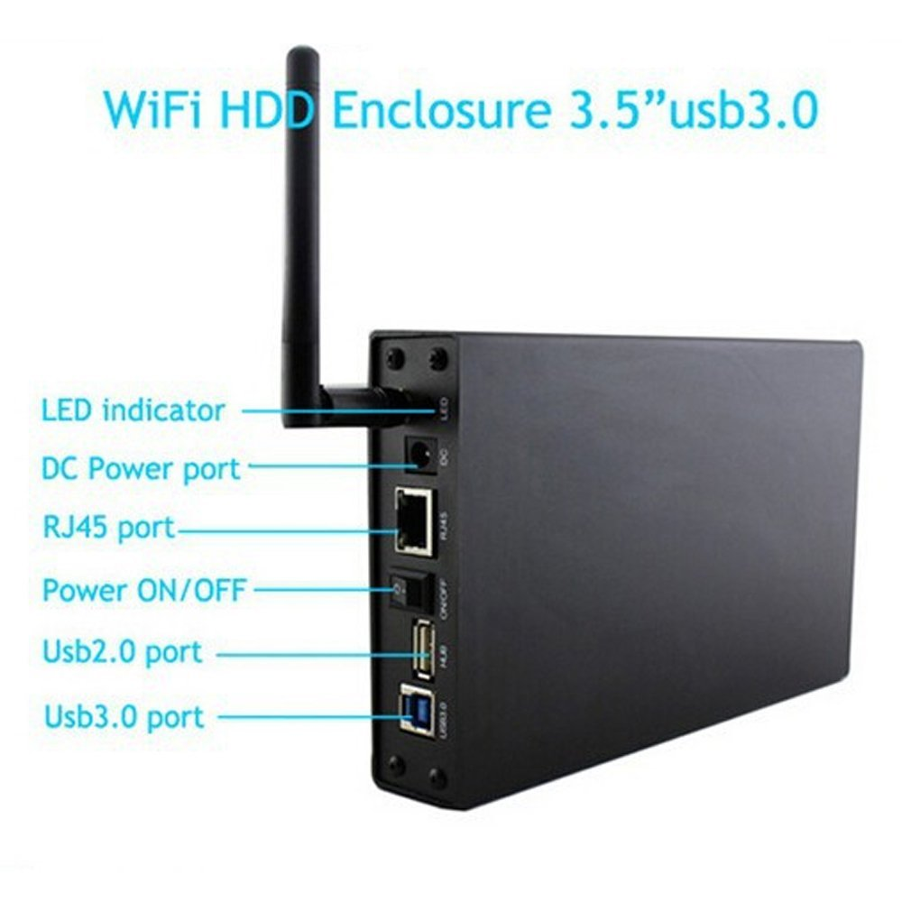 3.5 Inch USB 3.0 HDD Hard Drive Enclosure Case With WiFi NAS Share Network Storage up to 6TB ugreen hdd enclosure sata to usb 3 0 hdd case tool free for 7 9 5mm 2 5 inch sata ssd up to 6tb hard disk box external hdd case