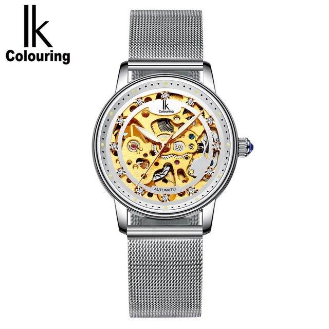 34defe22af4 Mulheres Pulseira de Relógios de luxo OL Senhora Vestido Da Moda oco Relógio  mecânico automático Relógio