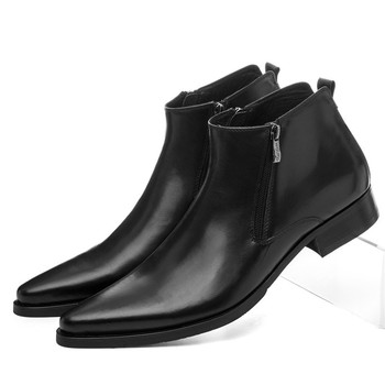 Large Size EUR46 Wool Insole Winter Black Warm Mens Ankle Boots Dress Shoes Genuine Leather Pointed Toe Man Business Shoes