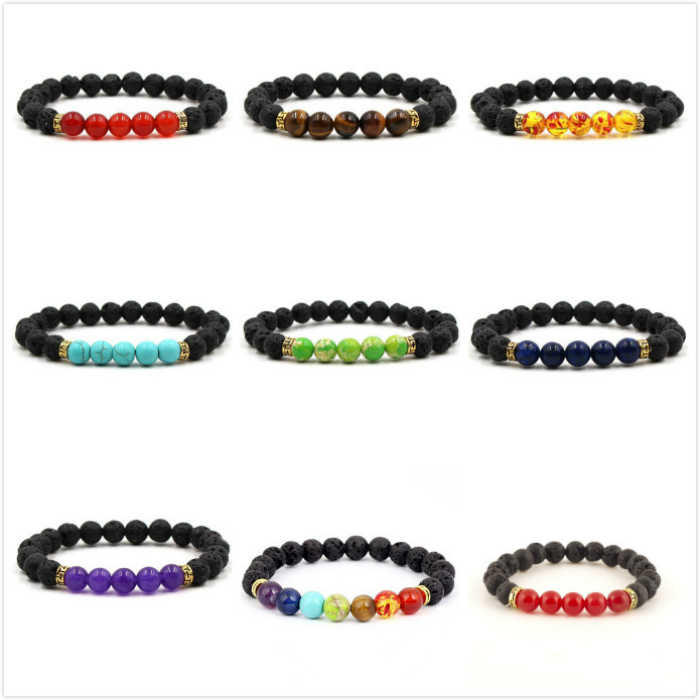 2018 Hot Fashion Volcano Lava Balance Bead Reiki Natural Stone Cuff Bracelets For Men Or Women Bracelet Jewelry