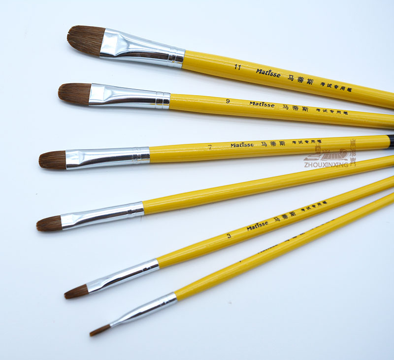 6pcs/Set,weasel Hair Short Yellow Hang Black Tail Wood Rod Artist Oil Painting Brushes Acrylic Watercolor Gouache Drawing Pen