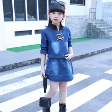 2019 new fashion baby girl clothes set summer denim coat+ jean skirt body suit sping and autumn clothing sets