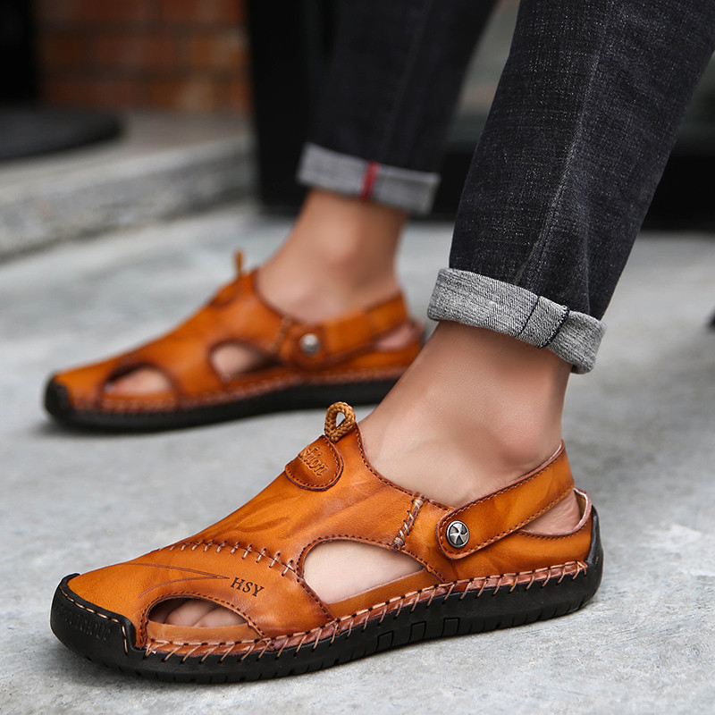 Classic Men Soft Sandals Comfortable Men Summer Shoes Leather Sandals Big Size Sandals Men Roman Comfortable