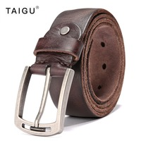 TAIGU Luxury Belt Men 100 Italy Cow Leather Belt For Men 105cm 125cm Length Metal Pin