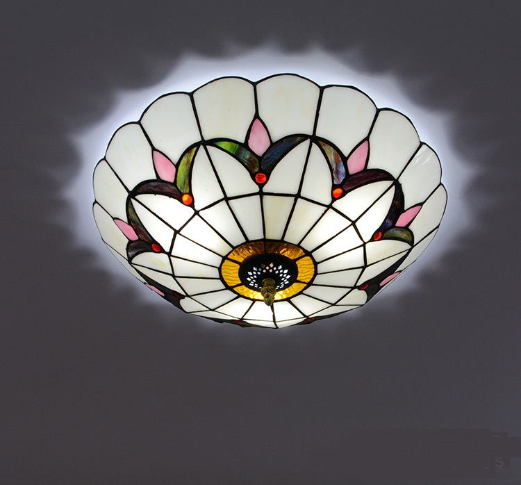 Tiffany colorful glass ceiling lamps simple Baroque ceiling decoration bedroom LED corridor balcony cloakroom ceiling light ZA fumat modern minimalist bedroom ceiling light corridor balcony glass lampshade light kitchen round metal ceiling lamps