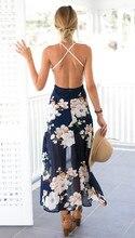 Summer style women lace long flower print dress