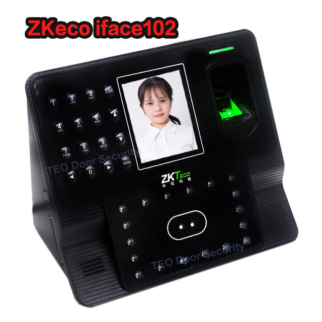 US $112 1 5% OFF|ZKsoftware iFace102 biometric identification time  attendance face reader Facial Fingerprint Biometric attendance time clock  face-in