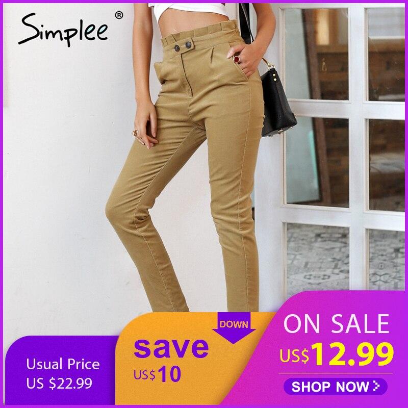 Simplee de cintura pantalones de pana de damas de Mujer Pantalones casual 2018 otoño lápiz Pantalones de cintura alta