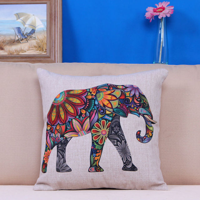 Good Quality Elephant Pillow Floral Printed Linen Cover For Soft Throw Pillow Case Chair Seat Pillowcases #81086