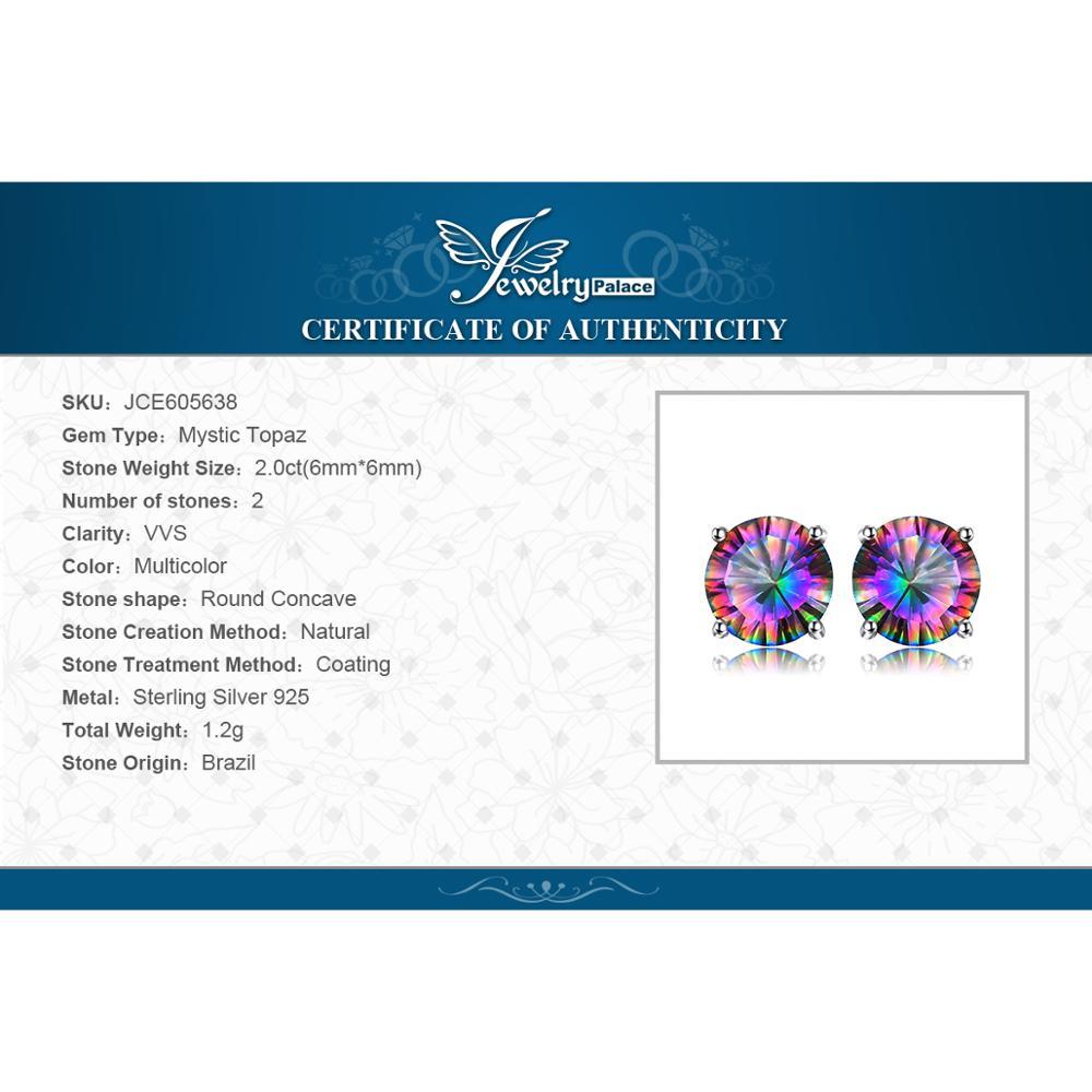 Купить с кэшбэком JewelryPalace Genuine Rainbow Mystic Topaz Stud Earrings 925 Sterling Silver Earrings for Women Gemstone Earings Fashion Jewelry
