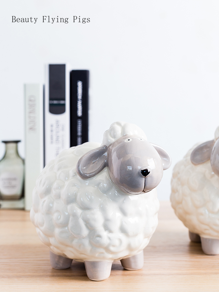 Direct sales Nordic modern style personality sheep ornament decoration creative home bedroom desktop piggy bank display