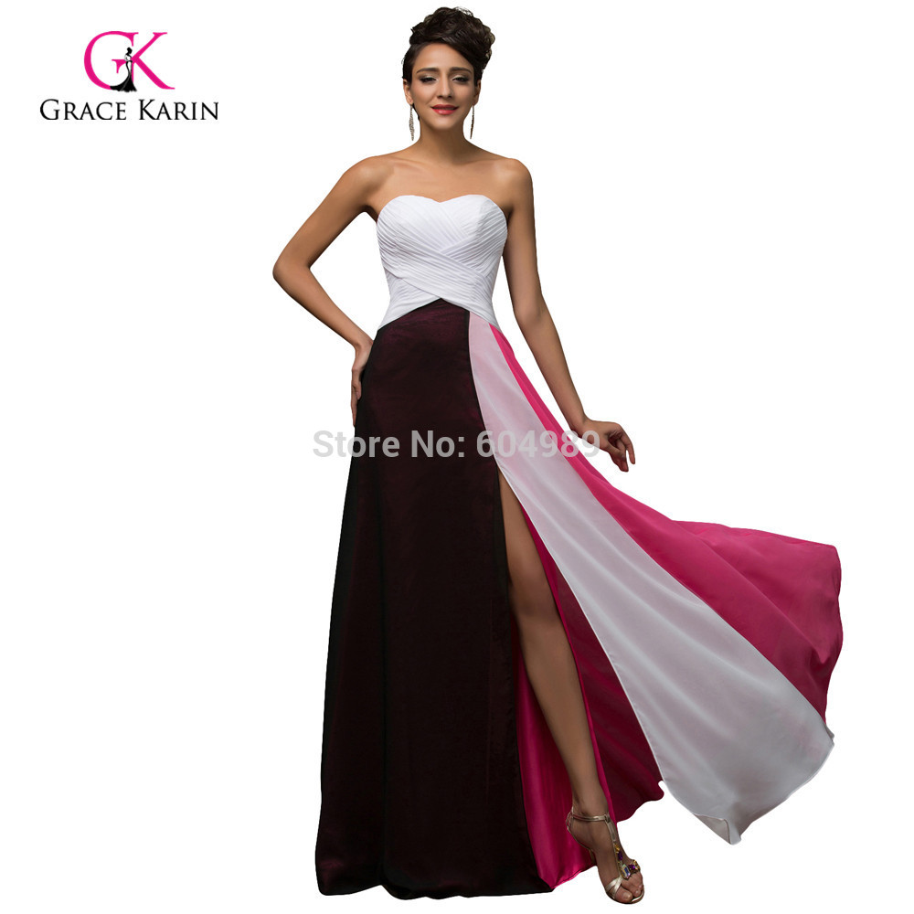 Summer Style Chiffon Sexy Slit Patchwork Long Evening Dresses Gowns 2018  Women White Formal Dress Vestido Longo Grace Karin 7567 bae85eab5cb8