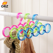 ORZ 5-Hole Ring Rope Slots Holder Hook Scarf Wraps Shawl Storage Hanger Ties Hanger/bBelt Rack/Scarves Organizer Practical Tools