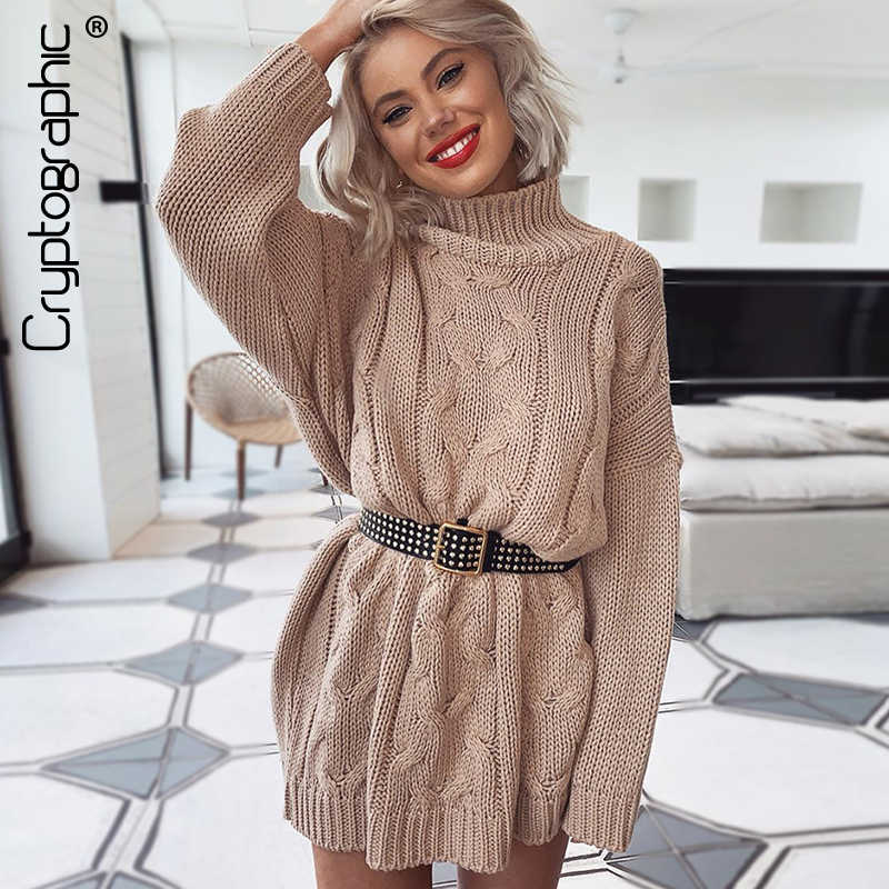 Cryptographic Women's Turtleneck Long Sweaters Fall Winter Solid Twist Slit Dresses Loose Knitted Pullover Plus Size Jumpers