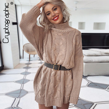 Cryptographic Womens Turtleneck Long Sweaters Winter Solid Twist Slit Dresses Loose Knitted Pullover Plus Size Jumpers Warm