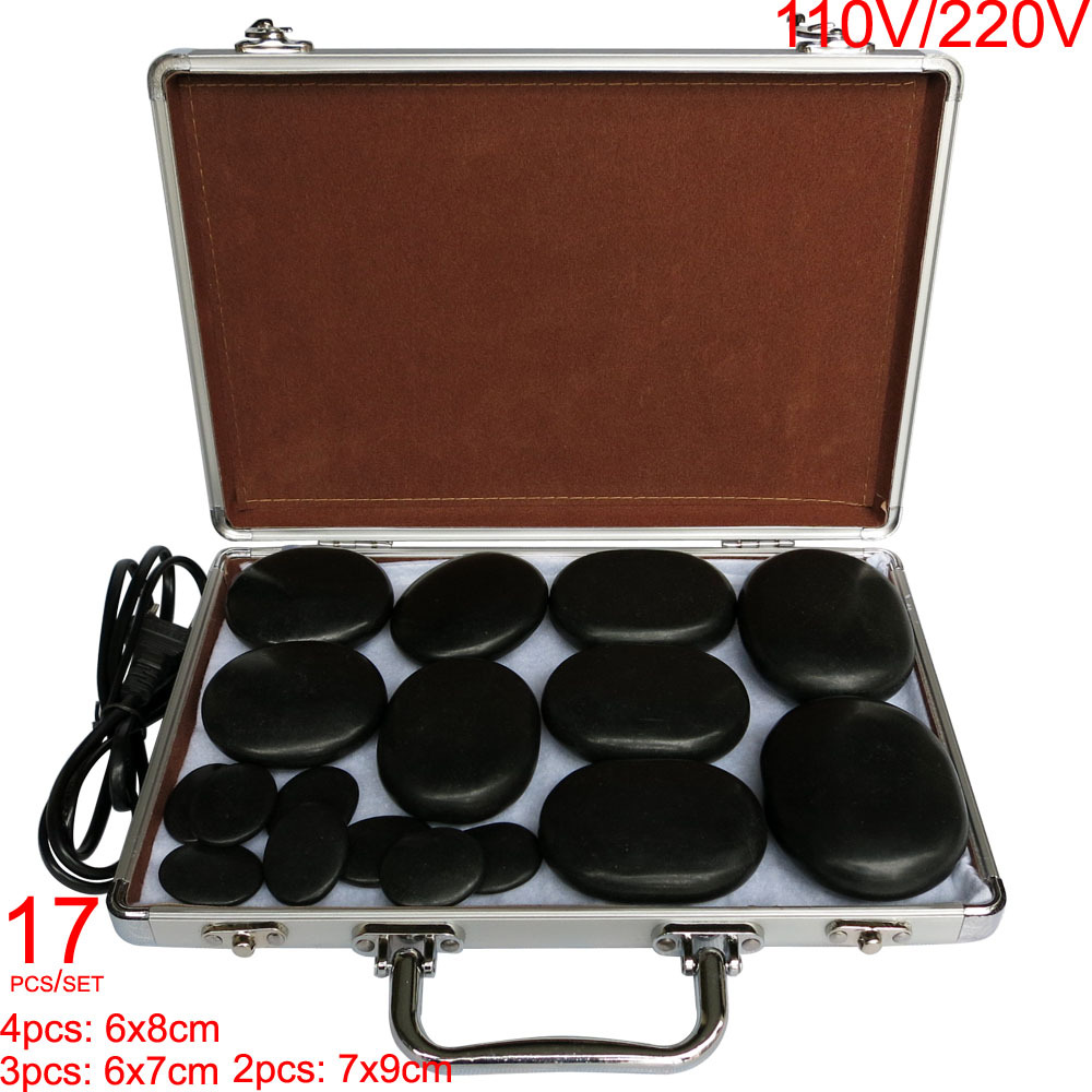 Hot spa rock basalt stone Massage stones Natural Energy massage stone set massage lava with heater box 17pcs /set