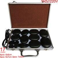 Hot spa rock basalt stone Massage stones Natural Energy massage stone set massage lava with heater box 17pcs /set