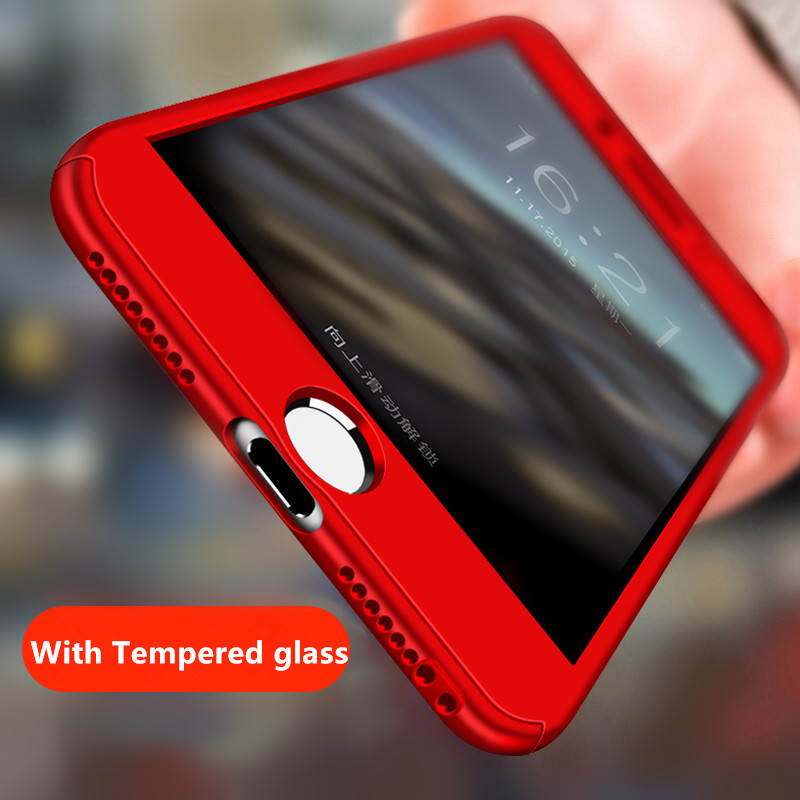 Luxury 360 Full Protection Phone Cases for iPhone 7 6 6S 8 Plus Case PC Cover for iPhone X 5 5S SE Case with Glass Funda Coque