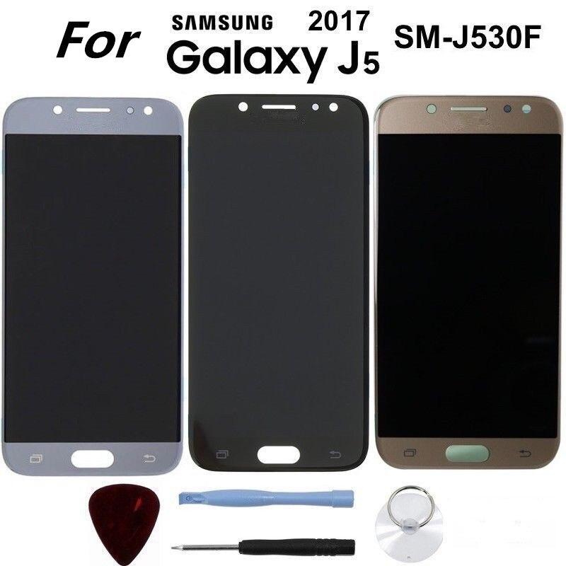 5,2 ''SUPER AMOLED для SAMSUNG Galaxy J5 2017 J530 J530F запчасти: сенсорный экран для ЖК-дисплея + Стикеры
