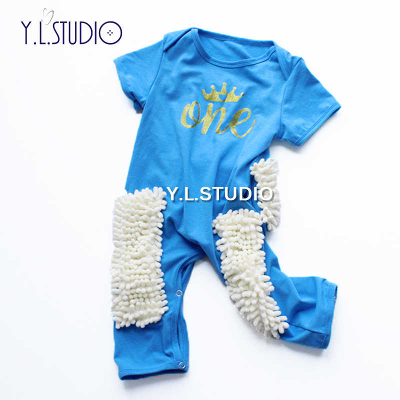 3f4675d3f ... Baby Rompers 1 Birthday Party Children Clothes Summer Girl Boy Baby Mop  Romper Letter Crown Newborn ...