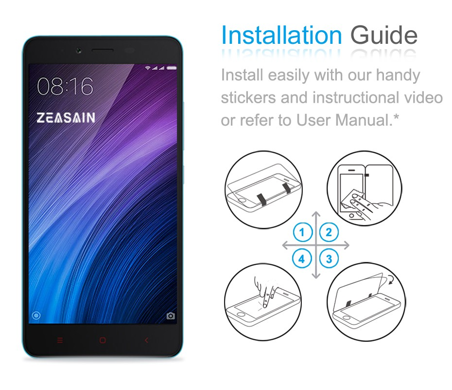 [2 Pack]Original ZEASAIN Premium Tempered Glass Film For Xiaomi Redmi Note 2 Note2 Screen Protector Protection safety Glasses  (6)