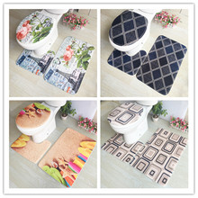 цена на 3Pcs/set Bathroom Mat Set Flannel Anti-Slip Kitchen Bath Mat Carpet Bathroom Toilet Rug Washable Tapete Banheiro