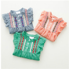 New Kids Baby Girls Embroidered Long Sleeve Shirts Ruffle Tops Shirts 1-6Y Autumn Winter Spring