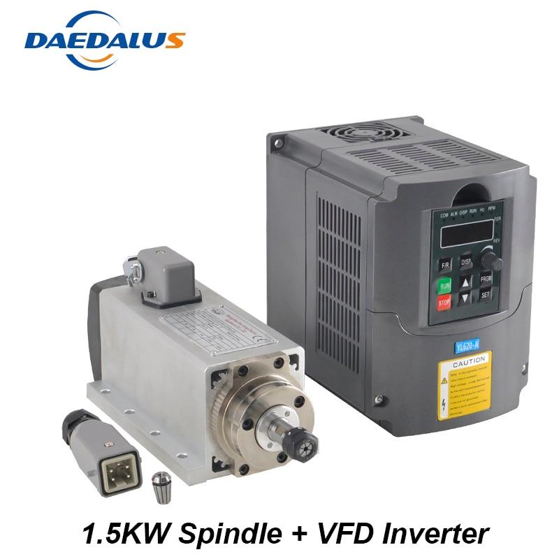 Mandrino 1.5KW 110 v 220 v Motore Mandrino CNC Router ER11 1.5KW Convertitore Inverter VFD Inverter Per Strumenti di Fresatura Per Incidere