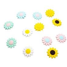 Chenkai 50 adet gıda sınıfı ayçiçeği silikon diş kaşıyıcı boncuk BPA ücretsiz bebek silikon diş kaşıyıcı çiğneme kemirgenler DIY bebek diş çıkartma oyuncakları