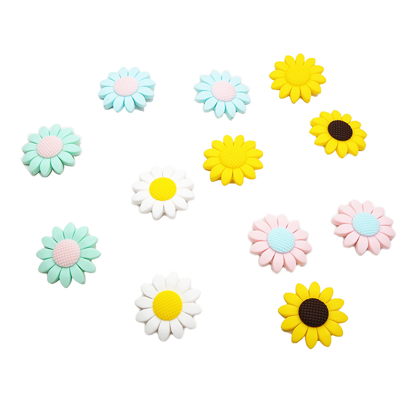 Chenkai 50PCS Food Grade Sunflower Silicone Teether Beads BPA Free Baby Silicone Teether Chew Rodents DIY Baby Teething Toys