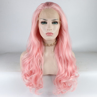 Fantasy Beauty Long Wavy Wig Baby Pink Synthetic Lace Front Wigs Heat Resistant Fiber Soft Hair For Women Light Pink wigs