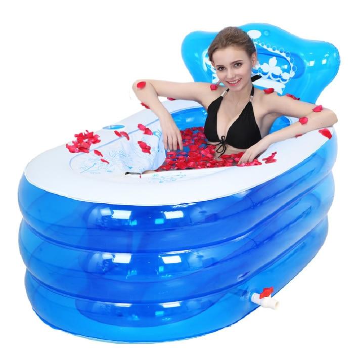 Portable bain adulte baignoire en plastique gonflable baignoire adultes pliant gonflable SPA 160 cm * 90 cm * 75 cm pied pompe à Air