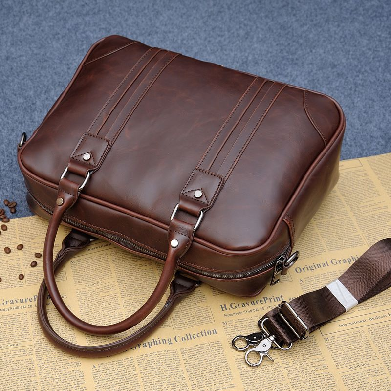 3a68a0cdda Large Capacity Famous Brand Crazy Horse Leather Business Man Briefcase  14inch Laptop Bag Casual Men s Leather