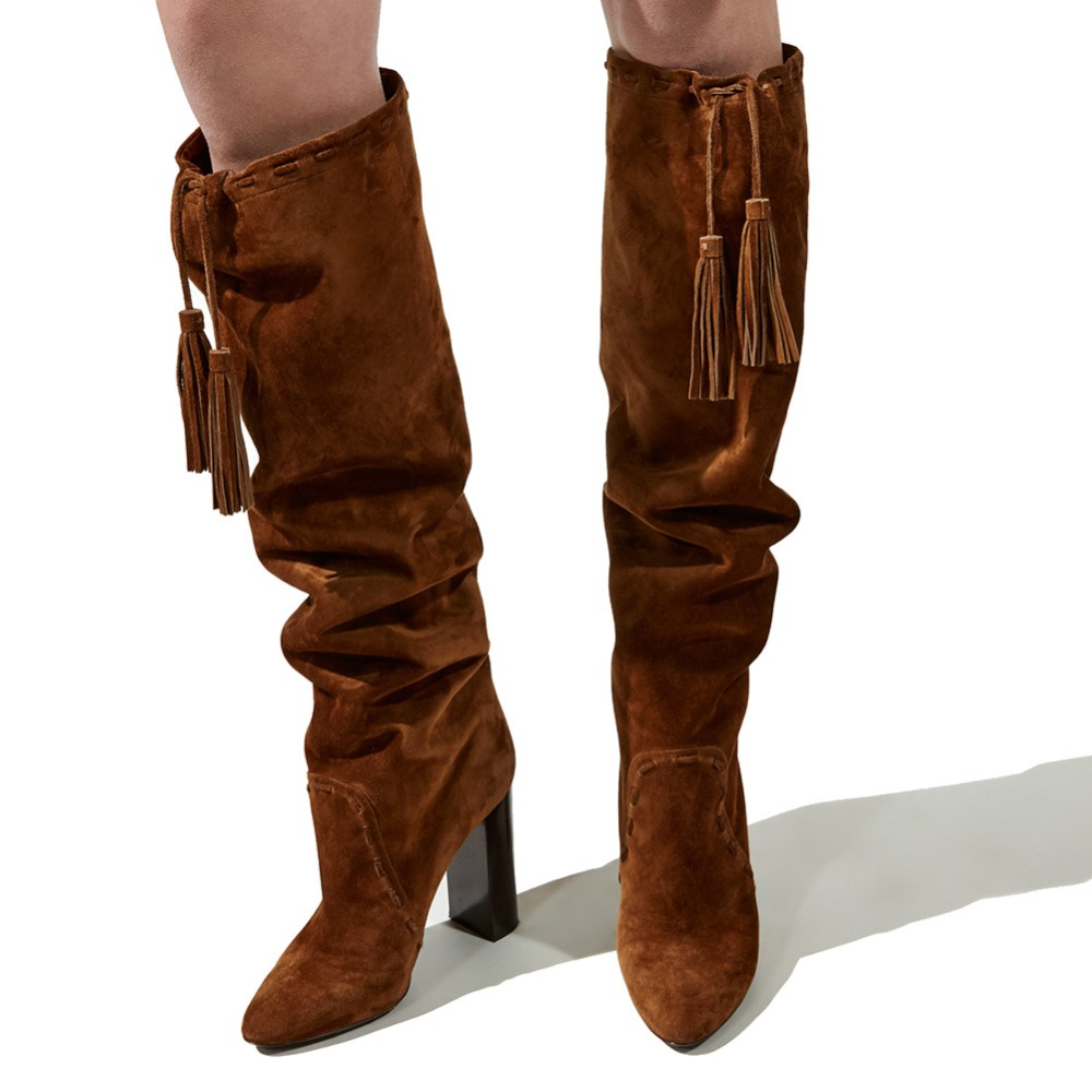 Brown Knee High Heel Boots Tassel Shoes Big Size 44 45 46 Women Shoes WinterBrown Knee High Heel Boots Tassel Shoes Big Size 44 45 46 Women Shoes Winter