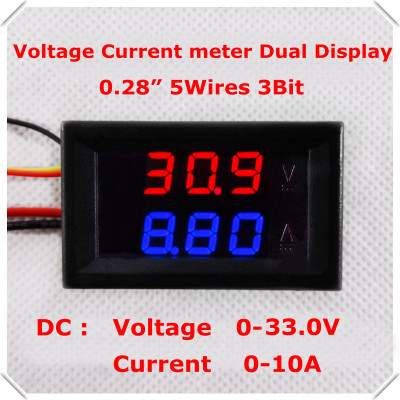 Red+Blue DC0-33.0V/10A 0.28 Digital Ammeter Voltmeter dual LED Display