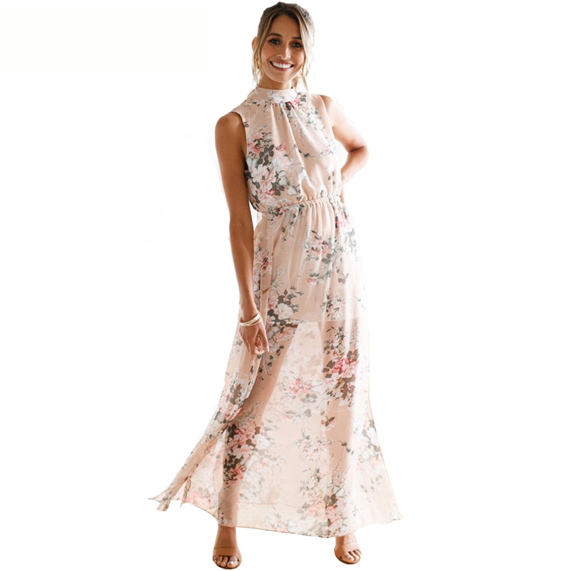 BEFORW Boho style Backless long dress women Summer Sexy Sleeveless Maxi Party Beach Dresses Floral print Chiffon dress vestidos