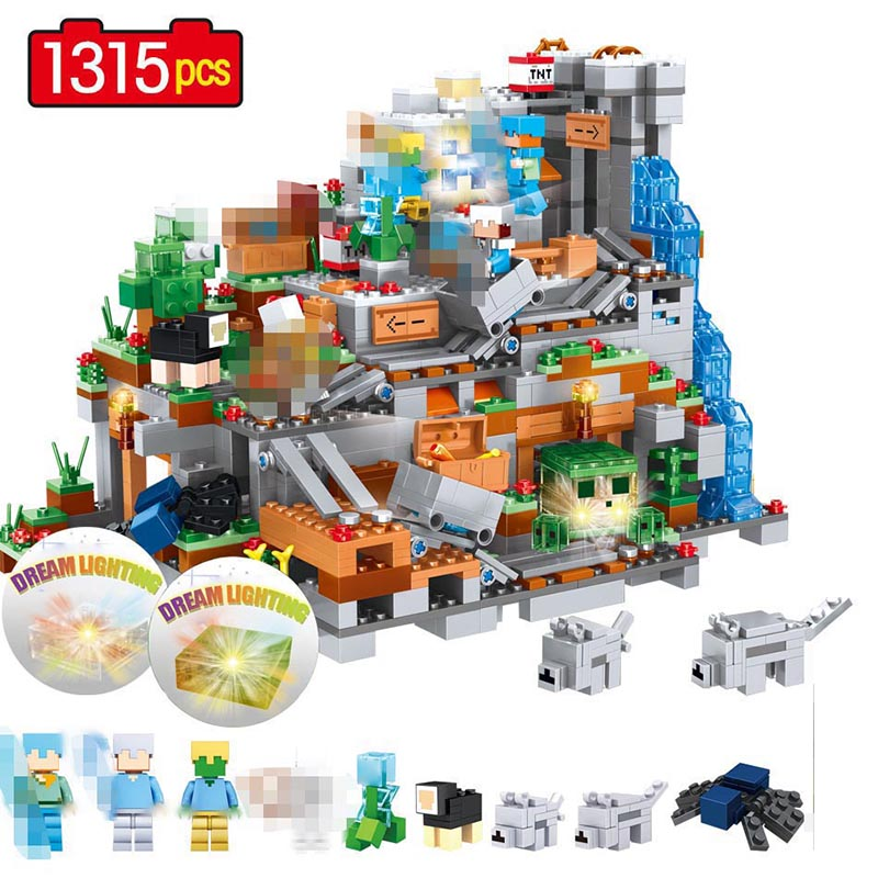 Technic Blocks Mountain Cave Creator Designer Compatible LegoINGLYS Minecrafted Village DIY Bricks Guard Toys For Boys-in Blocks from Toys & Hobbies