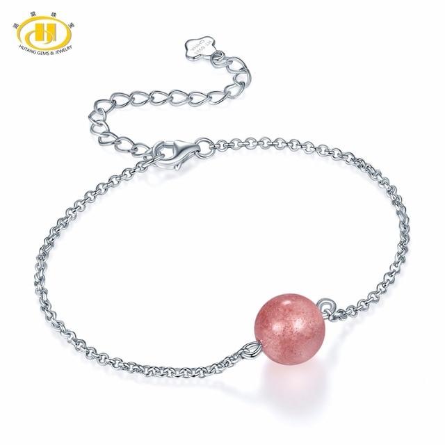 Hutang 925 Sterling Silver Adjustable Bracelets  for Women's Girl's Natural Gemstone Strawberry Quartz Amethyst Jewelry Best New