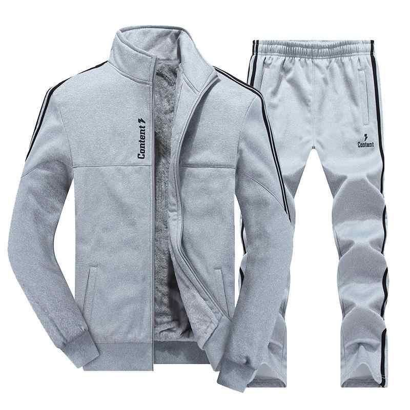 Zima dres mężczyźni zestawy zagęścić kurtki z polaru + spodnie na co dzień bluza odzież sportowa zestaw mężczyzna bluzy sportowe Masculino 2019