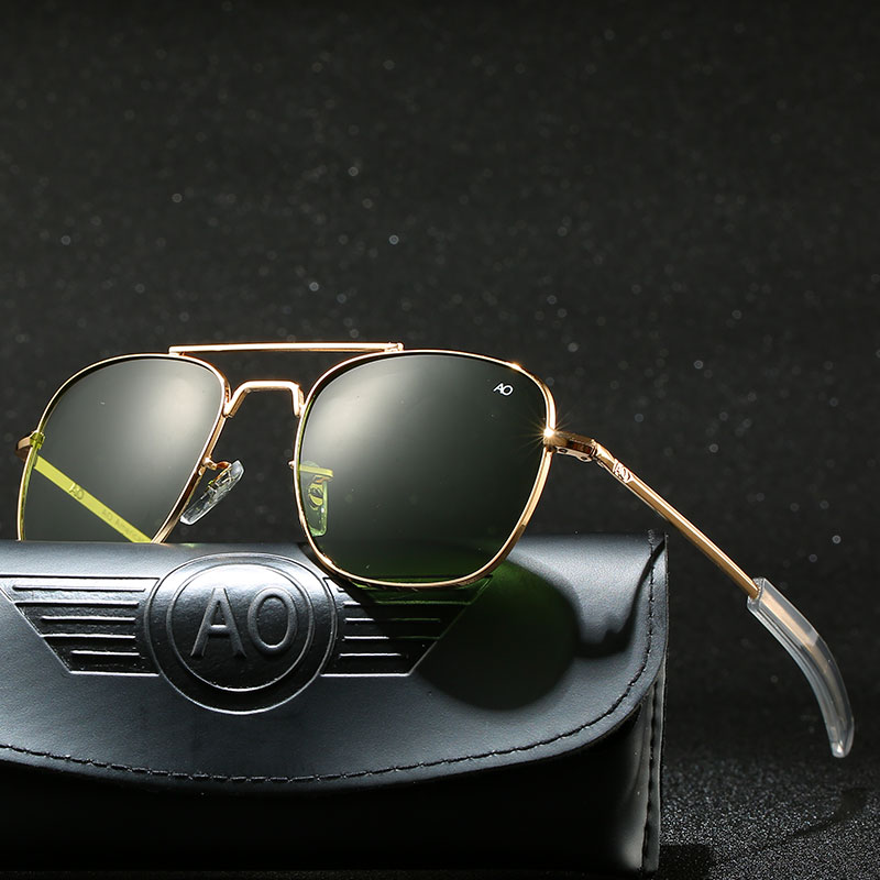 With Case Aviation AO Sunglasses Men Luxury Brand Designer Sun Glasses for Male American Army Military Optical Glass Lens image
