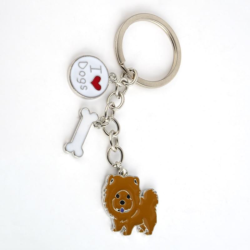 Söt Chow Chow hängsmycke nyckelringar för kvinnor män flickor silver färg metall husdjur hund väska charms manlig kvinnlig bil nyckelring nyckelring