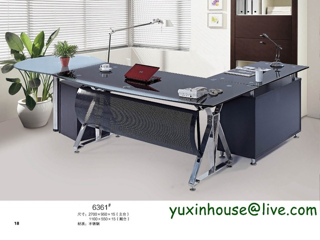 Tempered Glass Office Desk Boss Desk Table Commercial Office Furniture  Modern Design Executive Glass Office Desk 6361