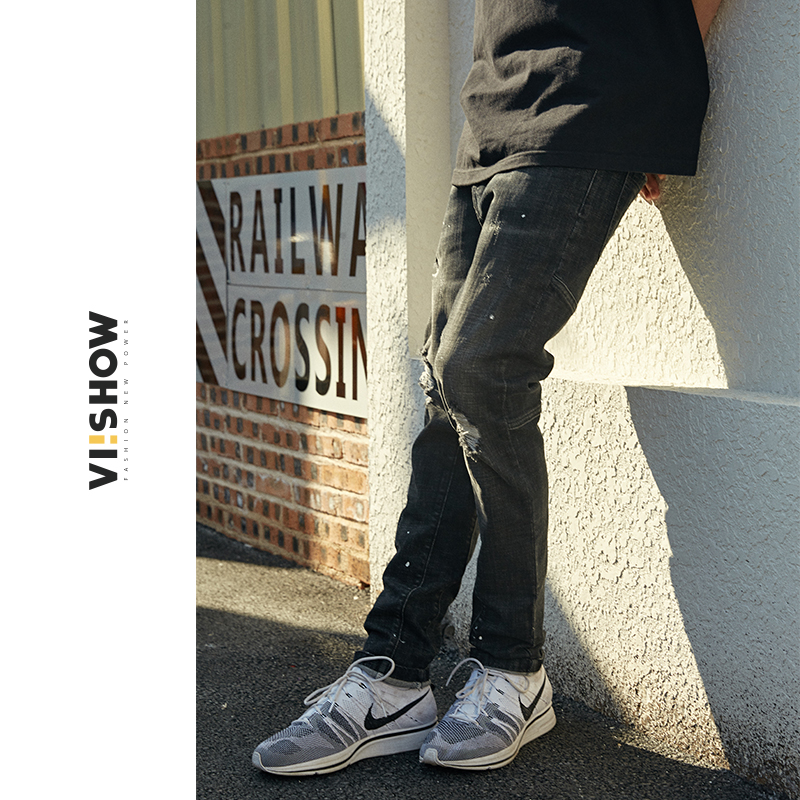 VIISHOW New Brand 2018 Top Quality Long Trousers Jeans Men Cotton Clothing Slim Straight Jeans Males Causal Hole Pants NC2321182