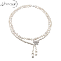 Real natural freshwater double pearl necklace for women,wedding choker necklace anniversary gift