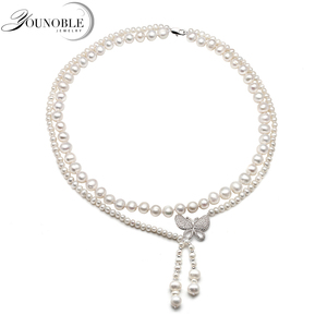 Image 2 - Real natural freshwater double pearl necklace for women,wedding choker necklace anniversary gift