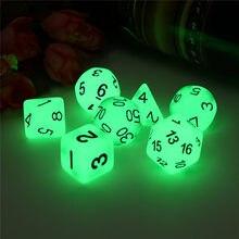 Nova marca de dados polyhedral 7 pçs conjunto luminoso rpg dados jogo d4 d6 d8 d10 d12 d20 rpg jogos de tabuleiro dados